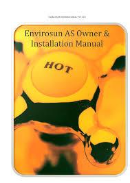 Envirosun split solar hot water system owners manual